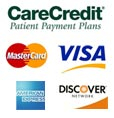 An image of financial options such as: CareCredit, MasterCard, Visa, American Express, and Discover.